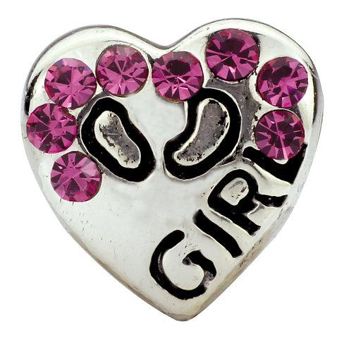 564402 Bellini zilveren zir bedel hart girl rose