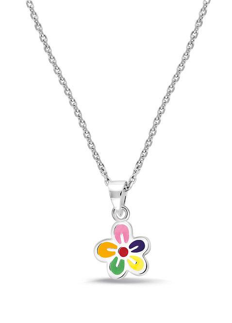 574028 Bellini zilveren collier met hanger bloem emaille