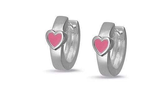 575104 Bellini zilveren creolen hartje roze