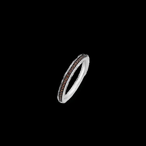 1923TB Ti Sento zilveren ring met kastanje bruine stenen