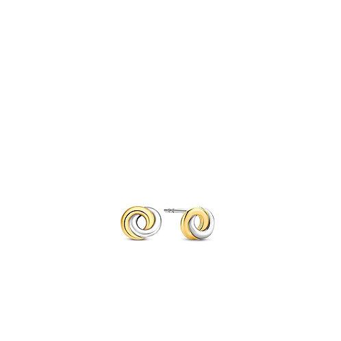 7784SY Ti Sento zilveren oorstekers geelgoud verguld