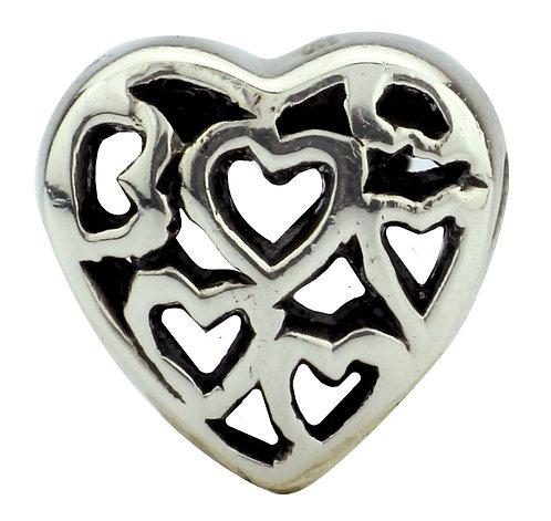562407 Bellini zilveren bedel hart open met hartjes