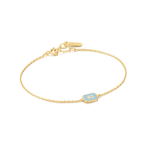 B028-02G-B Ania Haie Blue Enamel Emblem Gold Bracelet