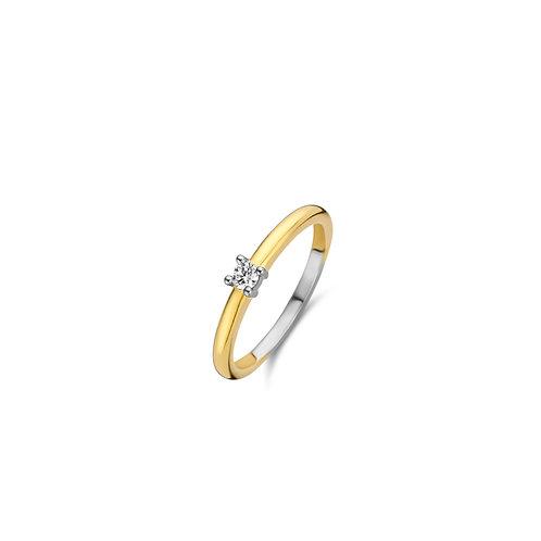 12211ZY Ti Sento zilveren ring geelgoud verguld met zirconia