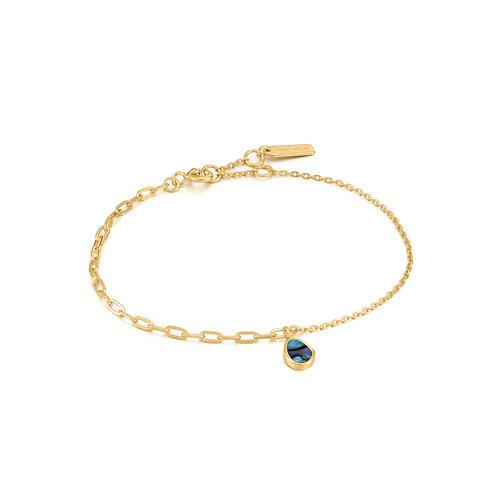 B027-02G Ania Haie Tidal Abalone Mixed Link Bracelet