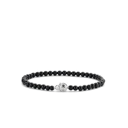 2908BO Ti Sento zilveren armband met zwarte onyx kralen