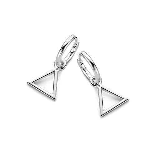 625664 Rosa di Luca zilveren oorringen met bedel driehoek
