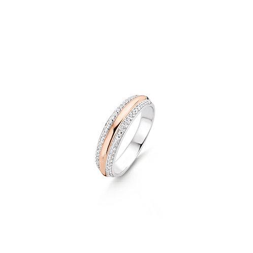 12144ZR Ti Sento zilveren ring roségoud verguld met zirconia