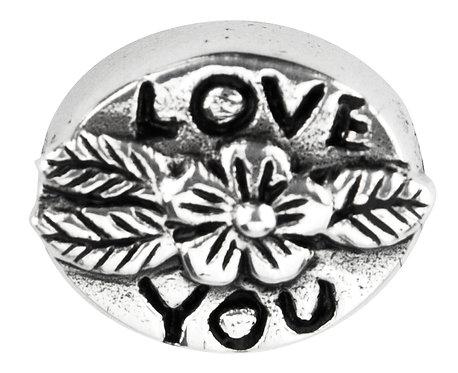 562413 Bellini zilveren bedel love you bloem