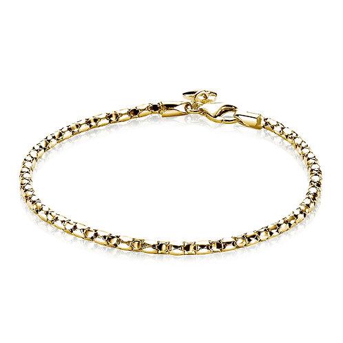 ZIA1129G ZINZI zilveren fantasie armband geelgoud verguld 19cm