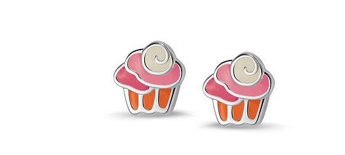 575045 Bellini zilveren oorknoppen emaille cupcake