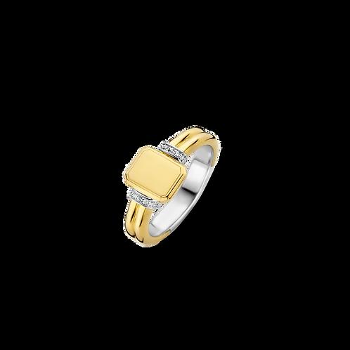 12240ZY-56 Ti Sento zilver vergulde monogram ring