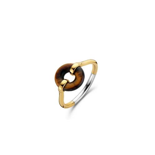 12237TE Ti Sento zilver vergulde ring met tijgeroog