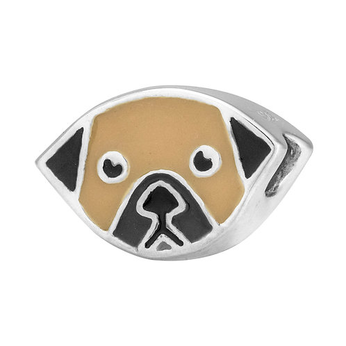 567449 Bellini zilveren bedel emaille hond licht bruin