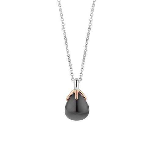 3935GB/42 Ti Sento zilver verguld collier met grijze steen