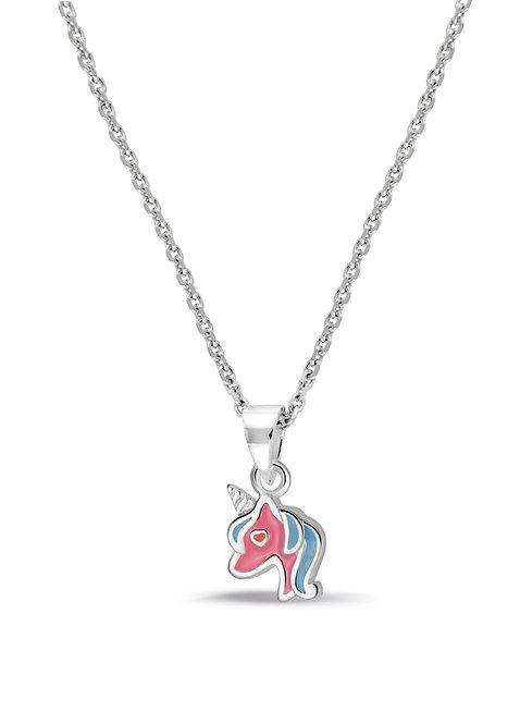574044 Bellini zilveren collier met hanger emaille eenhoorn rose-blauw