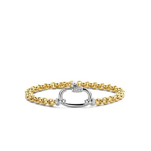 2950ZY Ti Sento zilver vergulde armband met zirconia
