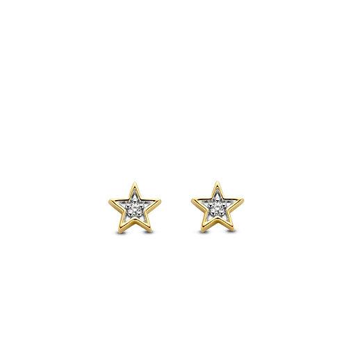 7863ZY Ti Sento zilver vergulde ster oorknoppen met zirconia