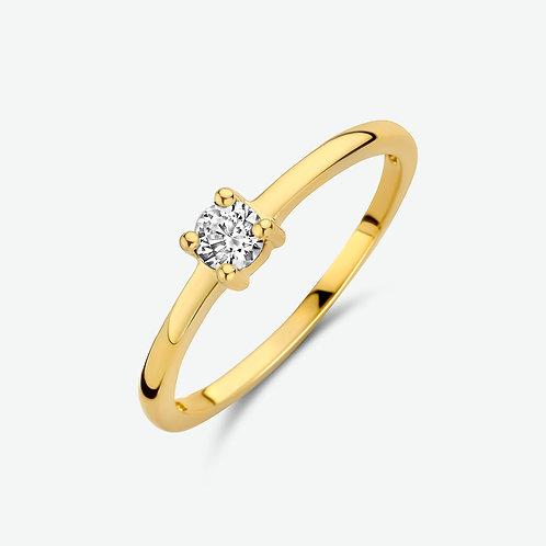 207828 Geelgouden solitair ring zirconia