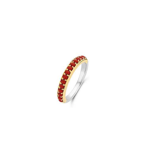 12123CR Ti Sento zilveren ring geelgoud verguld koraalrode stenen