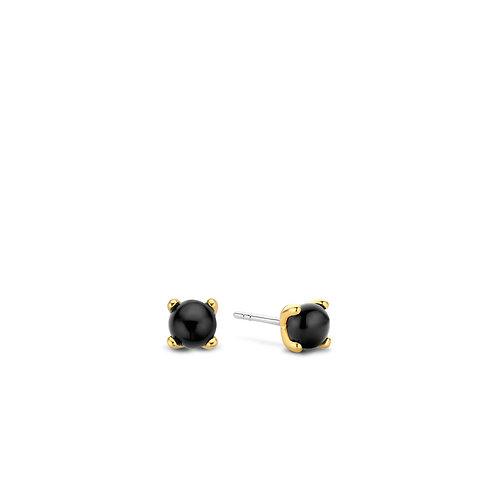 7768BO Ti Sento zilveren oorstekers geelgoud verguld zwarte onyx
