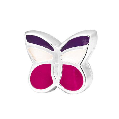 567441 Bellini zilveren bedel emaille vlinder paars-wit-rose