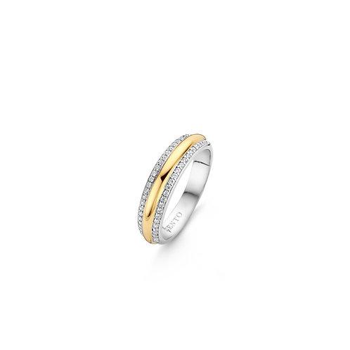 12144ZY Ti Sento zilveren ring geelgoud verguld met zirconia