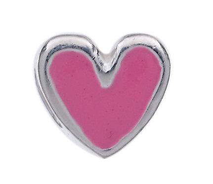 567001 Bellini zilveren bedel emaille hart rose