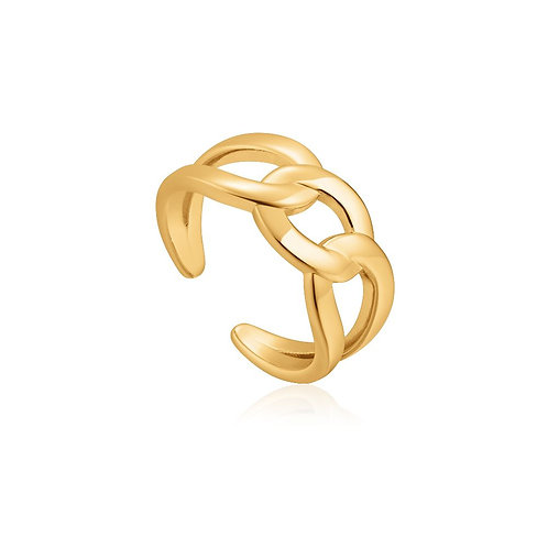 Ania Haie R021-02G Wide Curb Chain Adjustable Ring S