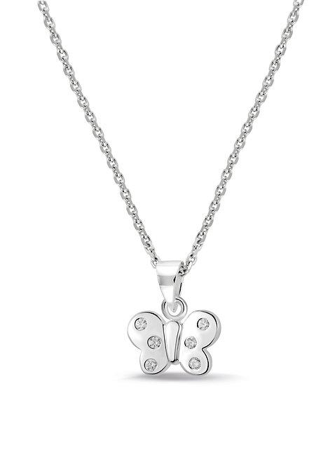 574039 Bellini zilveren collier met hanger vlinder zirk wit