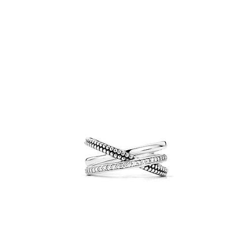 12022ZI Ti Sento zilveren ring met zirconia