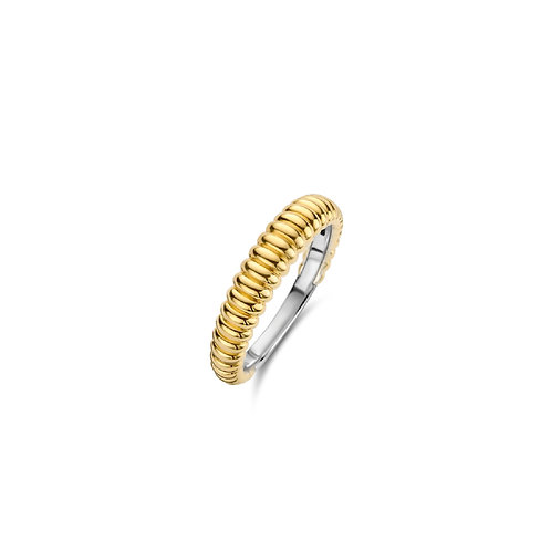 12218SY Ti Sento zilveren ring geelgoud verguld