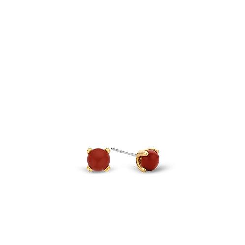 7768CR Ti Sento zilveren oorstekers geelgoud verguld koraalrode steen