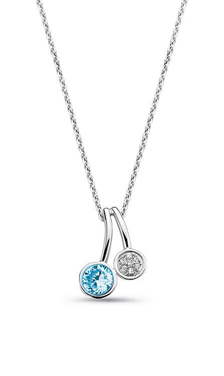624681 Rosa di Luca zilveren collier hanger blauwe steen zirconia