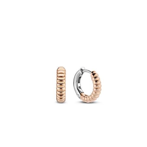 7839SR Ti Sento zilveren oorringen roségoud verguld