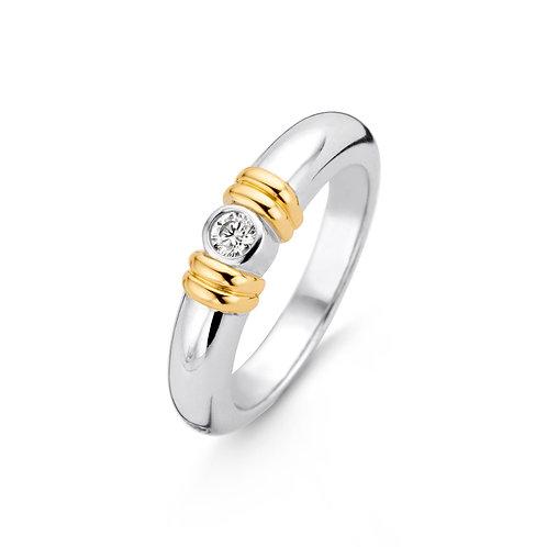 12168ZY Ti Sento zilveren ring geelgoud verguld met zirconia