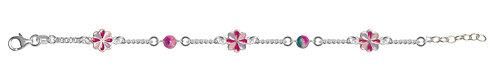 573054 Bellini zilveren armband bloem emaille bol rose-paars