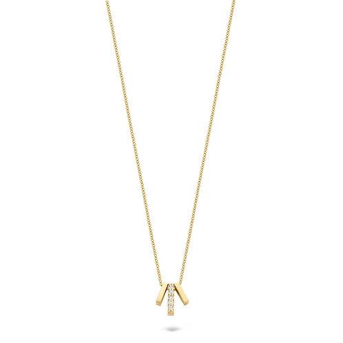 Blush gouden collier met 3 staafjes en zirconia 3122YZI
