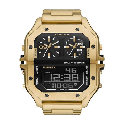 DZ7454 Diesel Clasher horloge goudkleur met 3 uurwerken