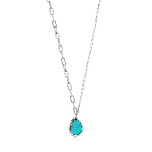 N027-02H Ania Haie Tidal Turquoise Mixed Link Necklace