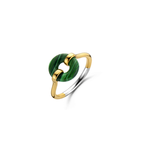 12237MA Ti Sento zilver vergulde ring met malachiet