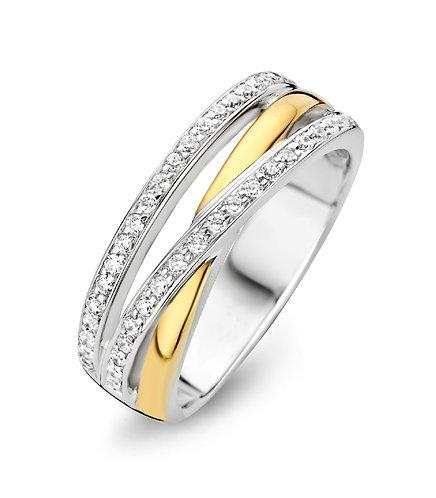 15089AY Moments zilveren ring verguld