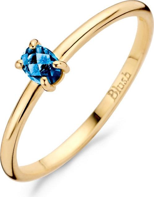 1204YLB Blush ring geelgoud blue topaz