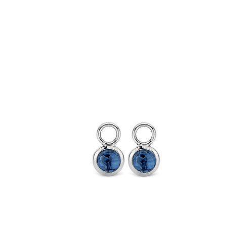 9180DB Ti Sento zilveren oorbedels met donkerblauwe crystal