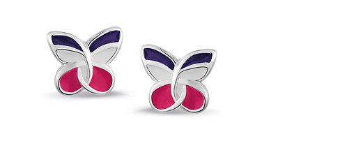 575042 Bellini zilveren oorknoppen vlinder paars roze