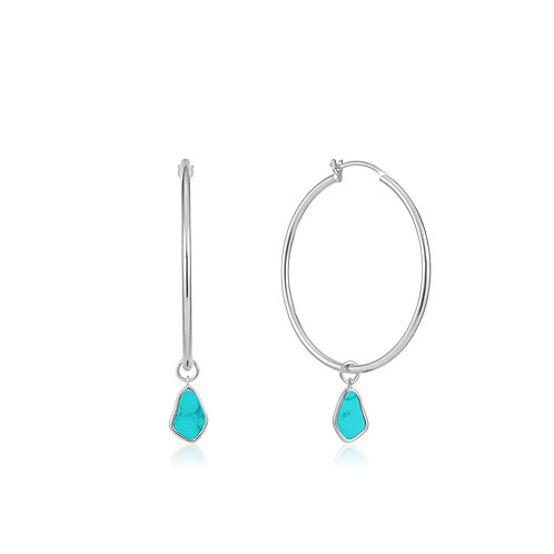 E027-05H Tidal Turquoise Drop Hoop Earrings