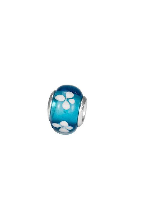 561525 Bellini zilveren bedel glas blauw