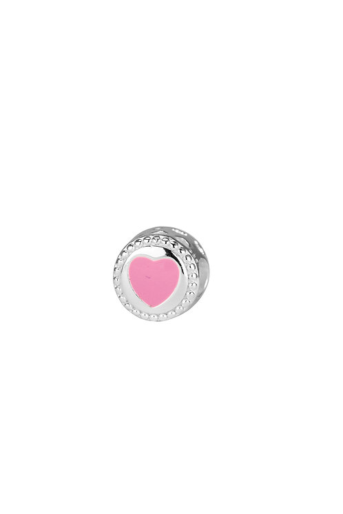 567480 Bellini zilveren bedel roze hartje bewerkte rand
