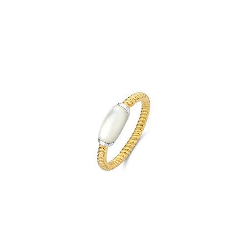 12189MW Ti Sento zilveren ring geelgoud verguld met parelmoer
