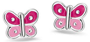 575011 Bellini zilveren oorknoppen vlinder rose